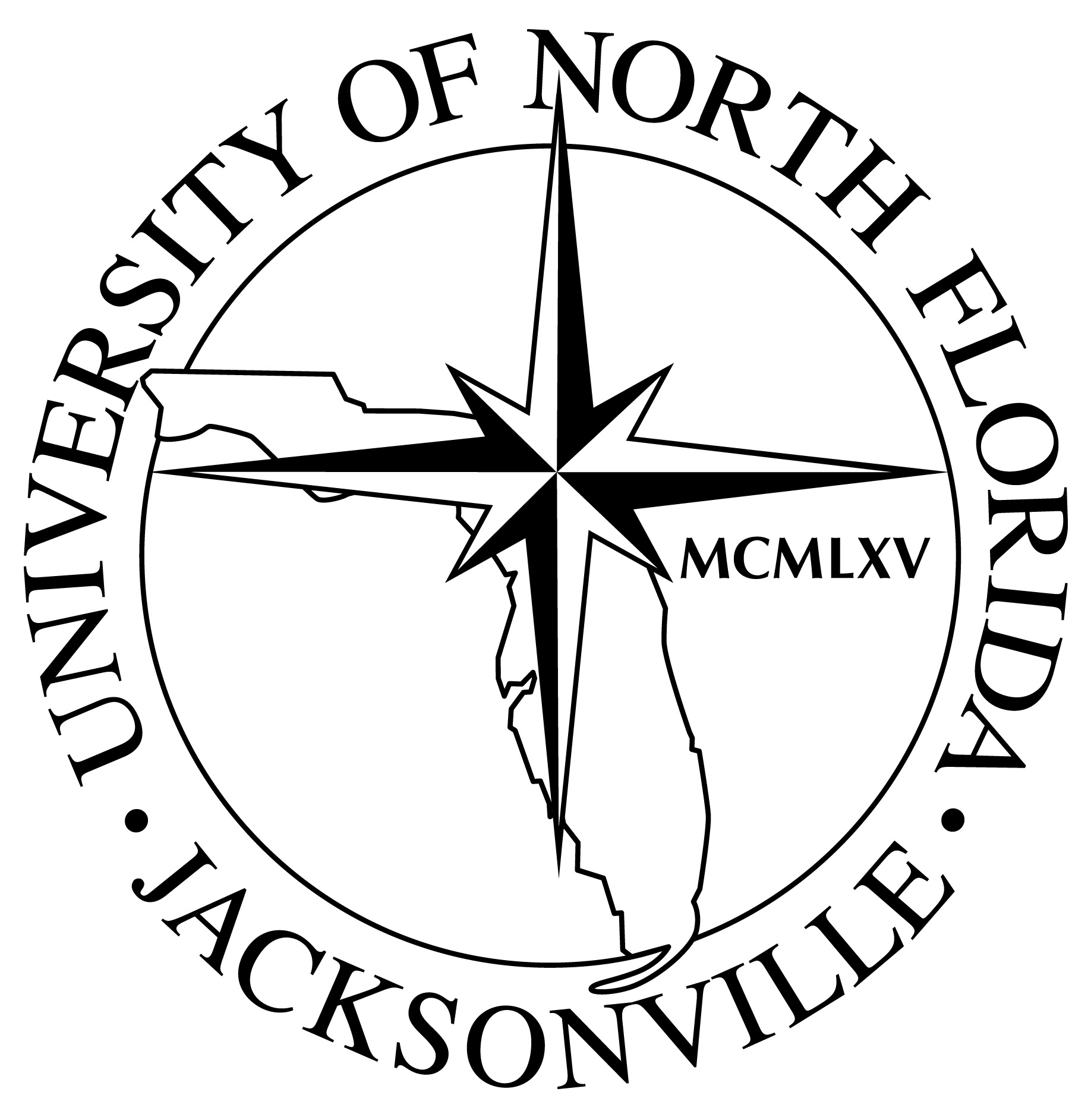 Official UNF seal in shape of compass